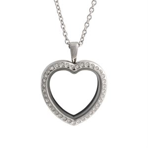 Picture of Large Silver Crystal Heart Locket