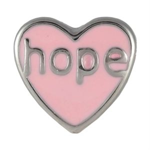 Picture of Hope On Pink Heart Charm