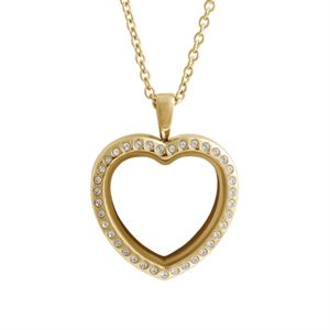 Picture of Large Gold Crystal Heart Locket
