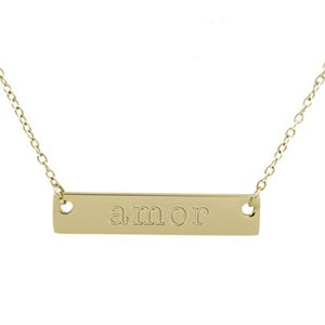 Picture of Gold 'Amor' Bar Necklace - 16""