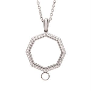 Picture of Large Silver Octagon with Crystals Linkable Locket